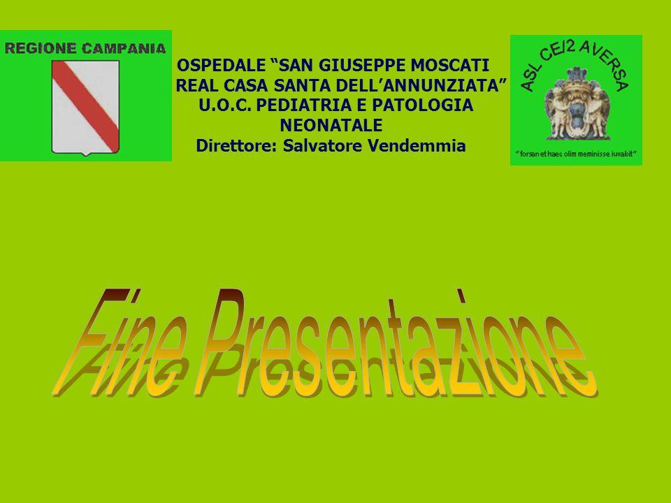 OSPEDALE SAN GIUSEPPE MOSCATI REAL CASA SANTA DELLANNUNZIATA U.O.C. PEDIATRIA E PATOLOGIA NEONATALE Direttore: Salvatore Vendemmia