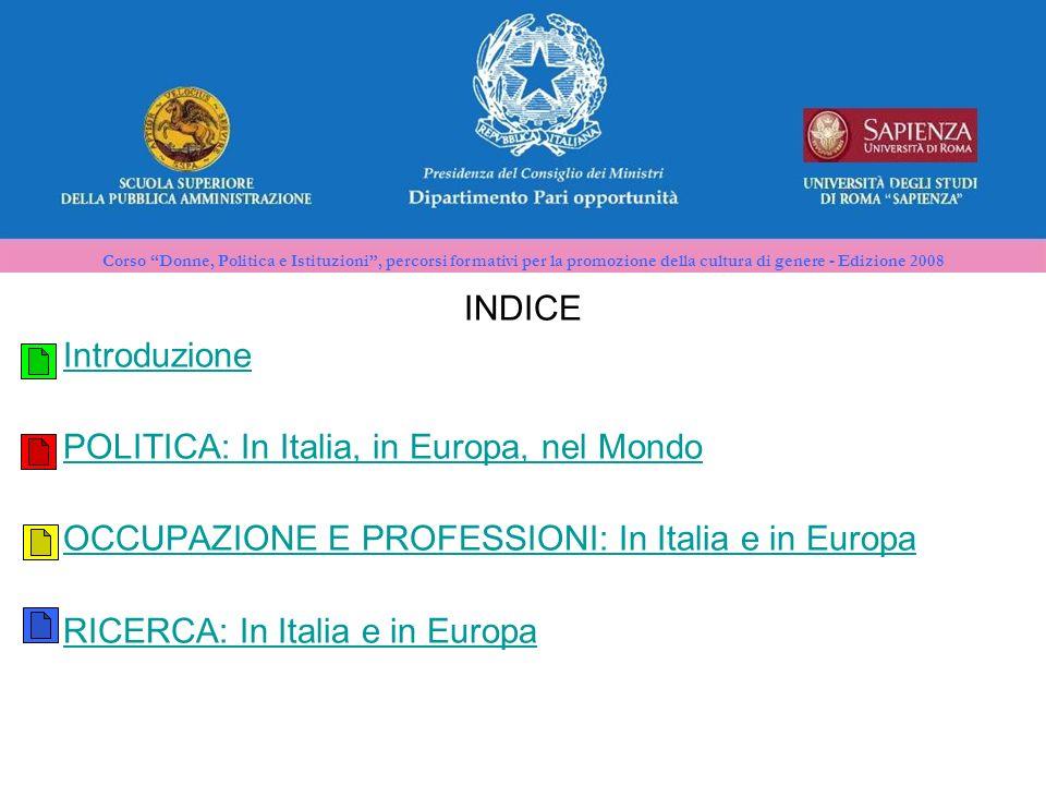 Corso Donne, Politica e Istituzioni, percorsi formativi per la promozione della cultura di genere - Edizione 2008 INDICE Introduzione POLITICA: In Italia, in Europa, nel Mondo OCCUPAZIONE E PROFESSIONI: In Italia e in Europa RICERCA: In Italia e in Europa