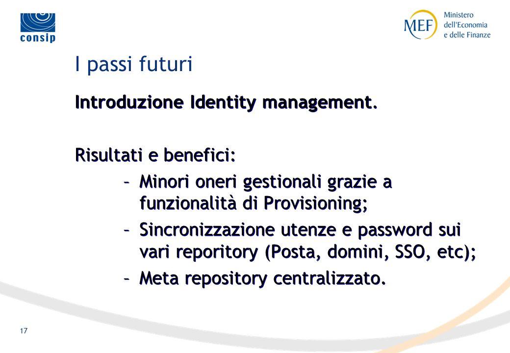 17 I passi futuri Introduzione Identity management.