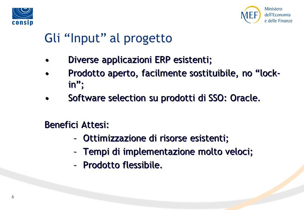 6 Gli Input al progetto Diverse applicazioni ERP esistenti; Prodotto aperto, facilmente sostituibile, no lock- in; Software selection su prodotti di SSO: Oracle.