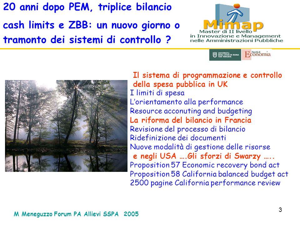 3 20 anni dopo PEM, triplice bilancio cash limits e ZBB: un nuovo giorno o tramonto dei sistemi di controllo ? Il sistema di programmazione e controll