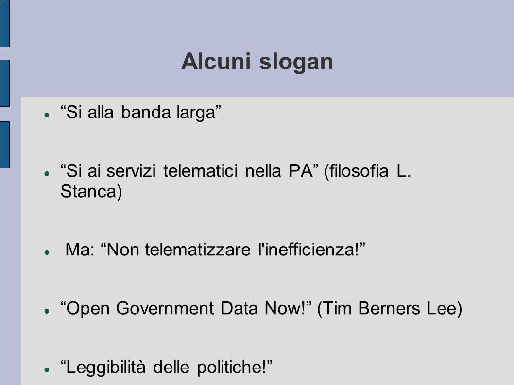 Alcuni slogan Si alla banda larga Si ai servizi telematici nella PA (filosofia L. Stanca) Ma: Non telematizzare l'inefficienza! Open Government Data N