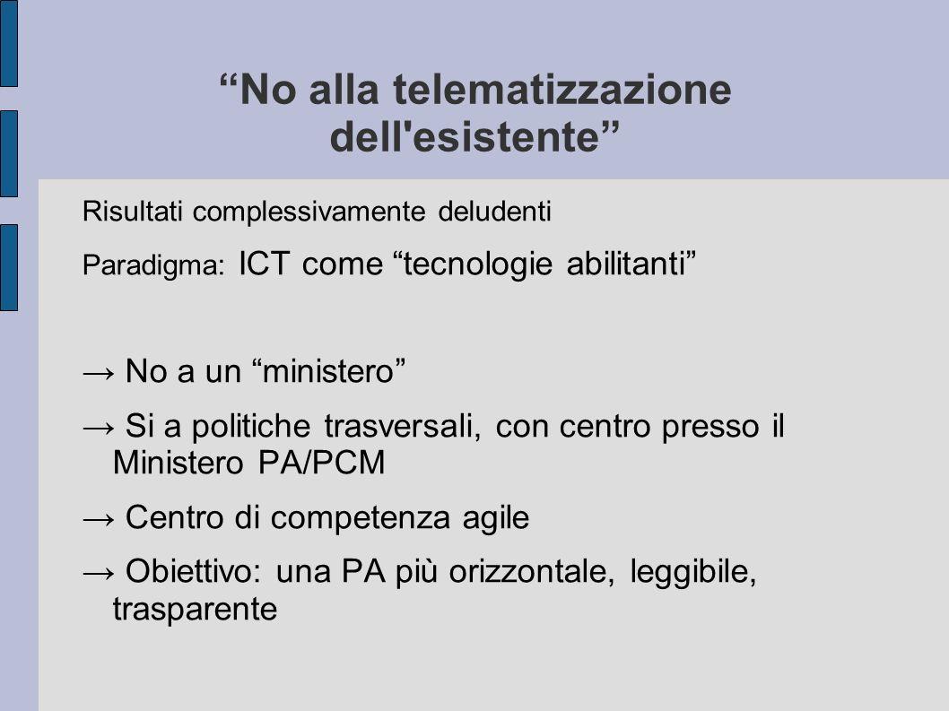 No alla telematizzazione dell'esistente Risultati complessivamente deludenti Paradigma: ICT come tecnologie abilitanti No a un ministero Si a politich