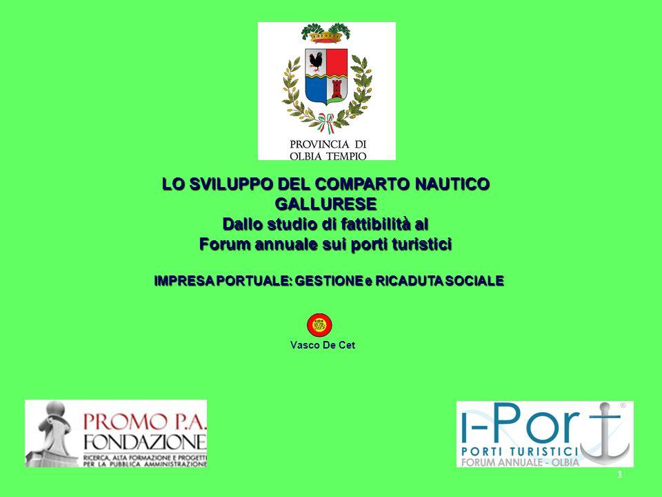 LO SVILUPPO DEL COMPARTO NAUTICO GALLURESE Dallo studio di fattibilità al Forum annuale sui porti turistici Vasco De Cet IMPRESA PORTUALE: GESTIONE e RICADUTA SOCIALE 1