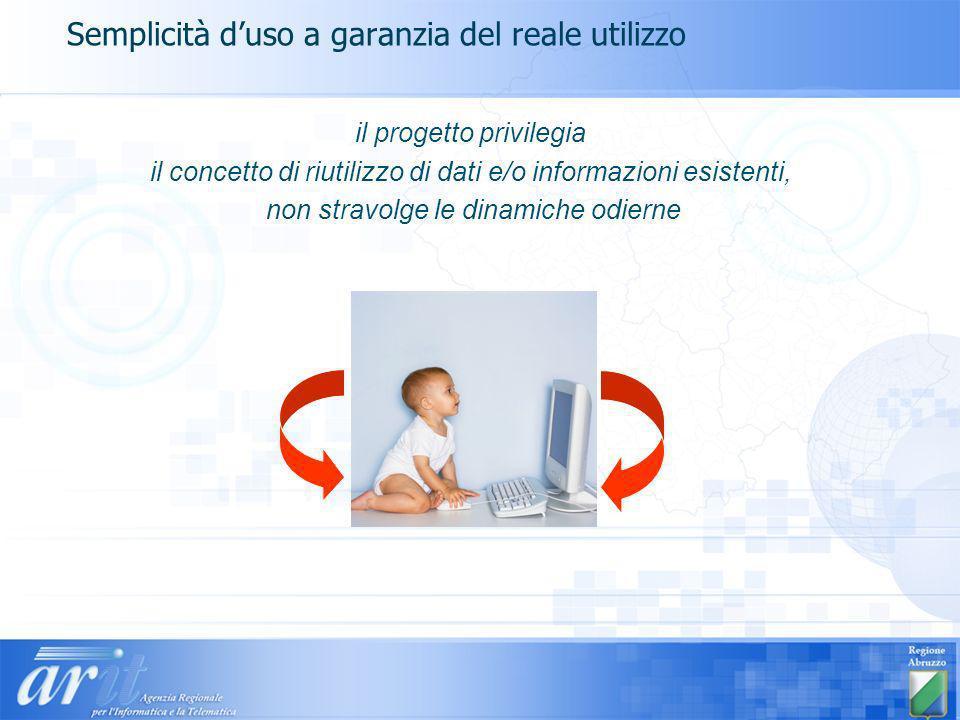 Semplicità duso a garanzia del reale utilizzo il progetto privilegia il concetto di riutilizzo di dati e/o informazioni esistenti, non stravolge le di