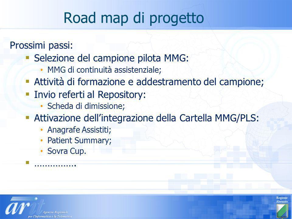 Road map di progetto Prossimi passi: Selezione del campione pilota MMG: MMG di continuità assistenziale; Attività di formazione e addestramento del ca