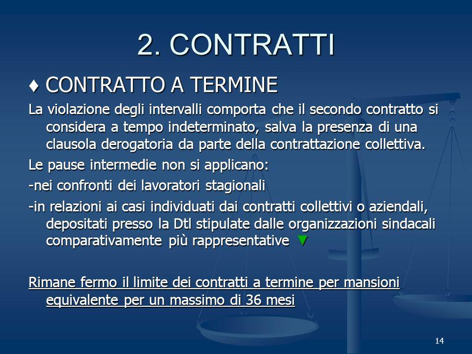 CONTRATTO A TERMINE CONTRATTO A TERMINE La violazione degli intervalli comporta che il secondo contratto si considera a tempo indeterminato, salva la presenza di una clausola derogatoria da parte della contrattazione collettiva.
