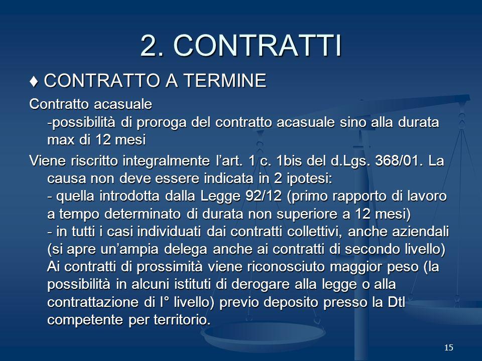 15 CONTRATTO A TERMINE CONTRATTO A TERMINE Contratto acasuale -possibilità di proroga del contratto acasuale sino alla durata max di 12 mesi Viene riscritto integralmente lart.