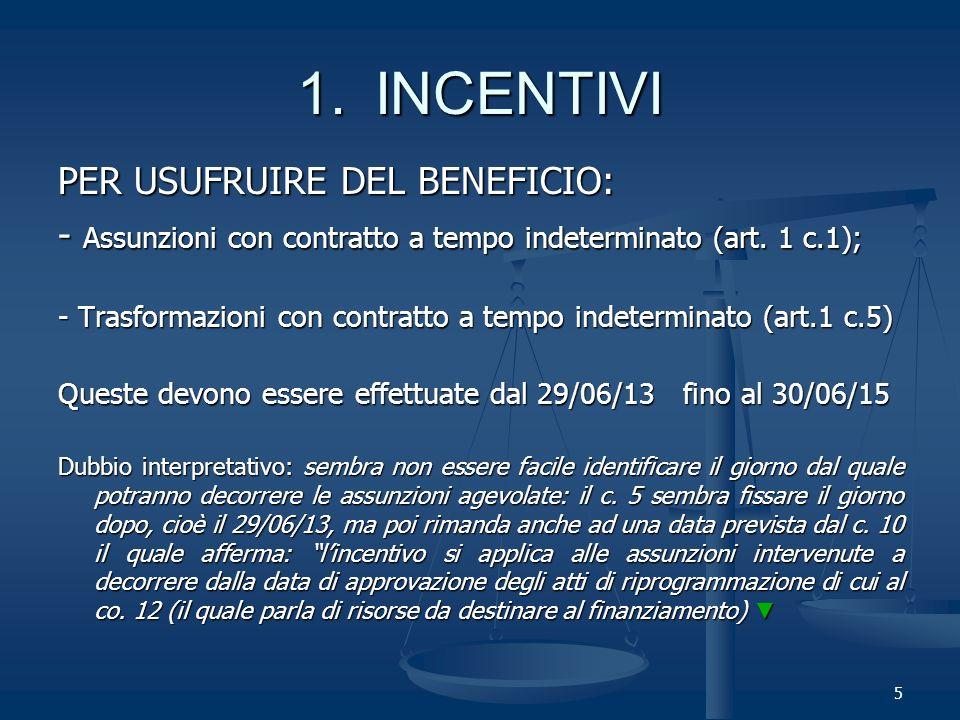 5 PER USUFRUIRE DEL BENEFICIO: - Assunzioni con contratto a tempo indeterminato (art.