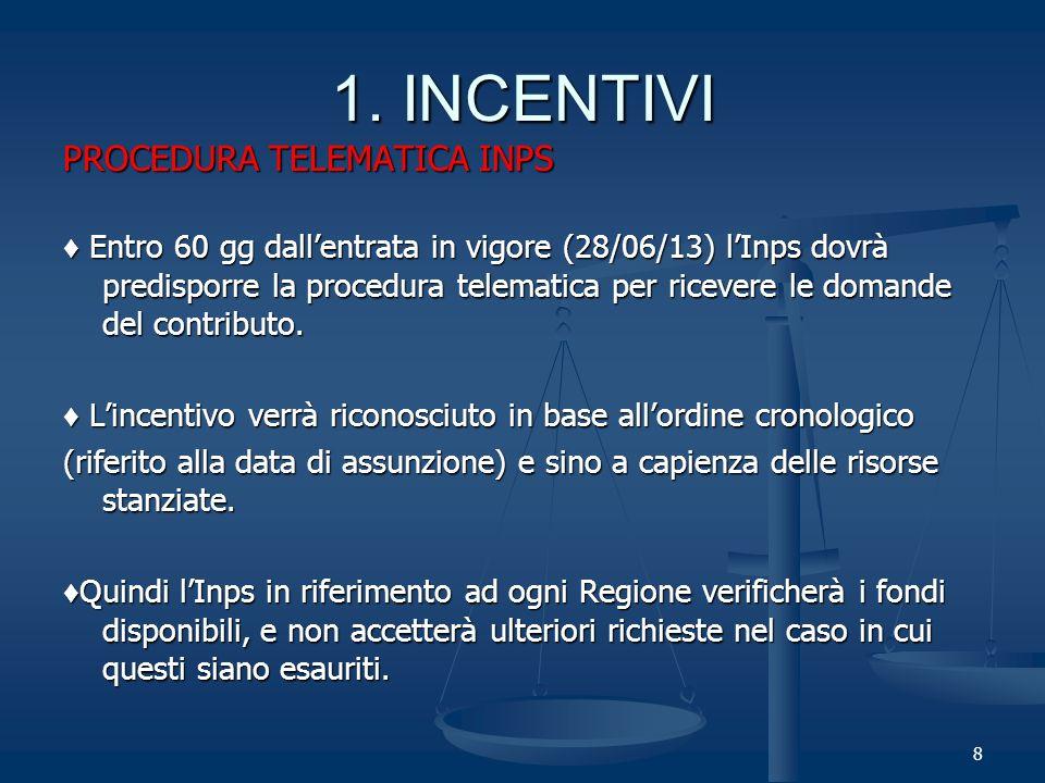 8 PROCEDURA TELEMATICA INPS Entro 60 gg dallentrata in vigore (28/06/13) lInps dovrà predisporre la procedura telematica per ricevere le domande del contributo.
