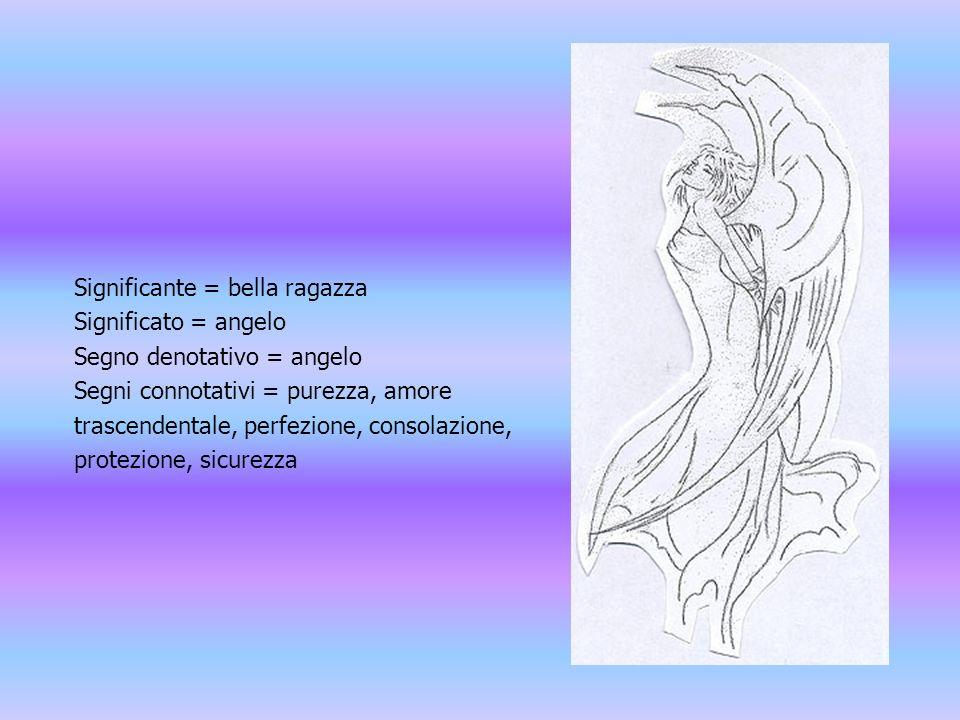 Significante = bella ragazza Significato = angelo Segno denotativo = angelo Segni connotativi = purezza, amore trascendentale, perfezione, consolazione, protezione, sicurezza