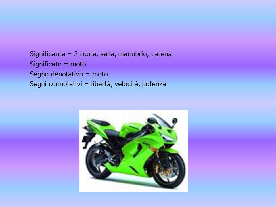 Significante = 2 ruote, sella, manubrio, carena Significato = moto Segno denotativo = moto Segni connotativi = libertà, velocità, potenza