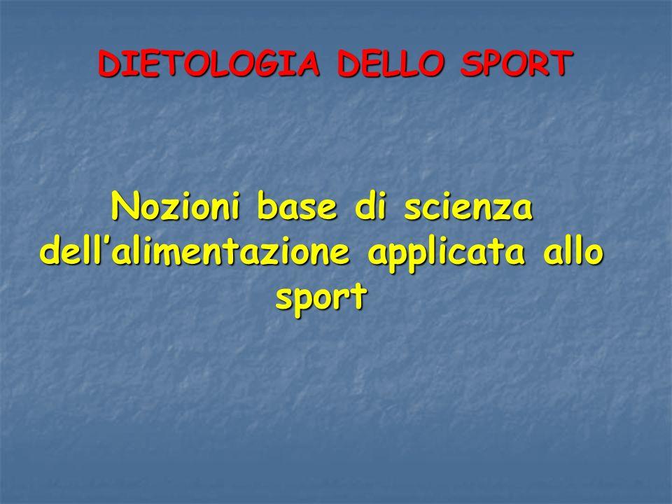 Nozioni base di scienza dellalimentazione applicata allo sport DIETOLOGIA DELLO SPORT