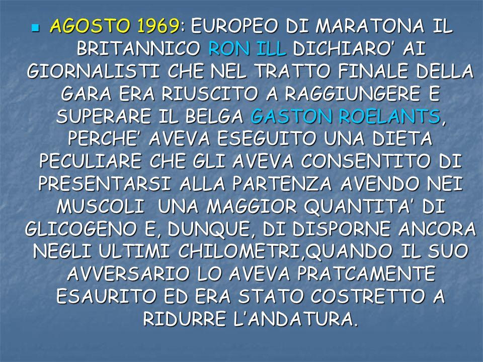 AGOSTO 1969: EUROPEO DI MARATONA IL BRITANNICO RON ILL DICHIARO AI GIORNALISTI CHE NEL TRATTO FINALE DELLA GARA ERA RIUSCITO A RAGGIUNGERE E SUPERARE