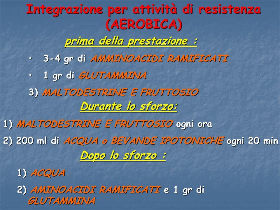 Integrazione per attività di resistenza (AEROBICA) prima della prestazione : prima della prestazione : 3-4 gr di AMMINOACIDI RAMIFICATI 3-4 gr di AMMI