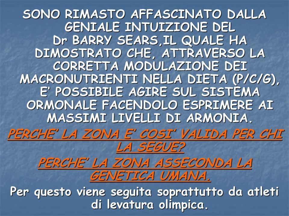 SONO RIMASTO AFFASCINATO DALLA GENIALE INTUIZIONE DEL Dr BARRY SEARS,IL QUALE HA DIMOSTRATO CHE, ATTRAVERSO LA CORRETTA MODULAZIONE DEI MACRONUTRIENTI