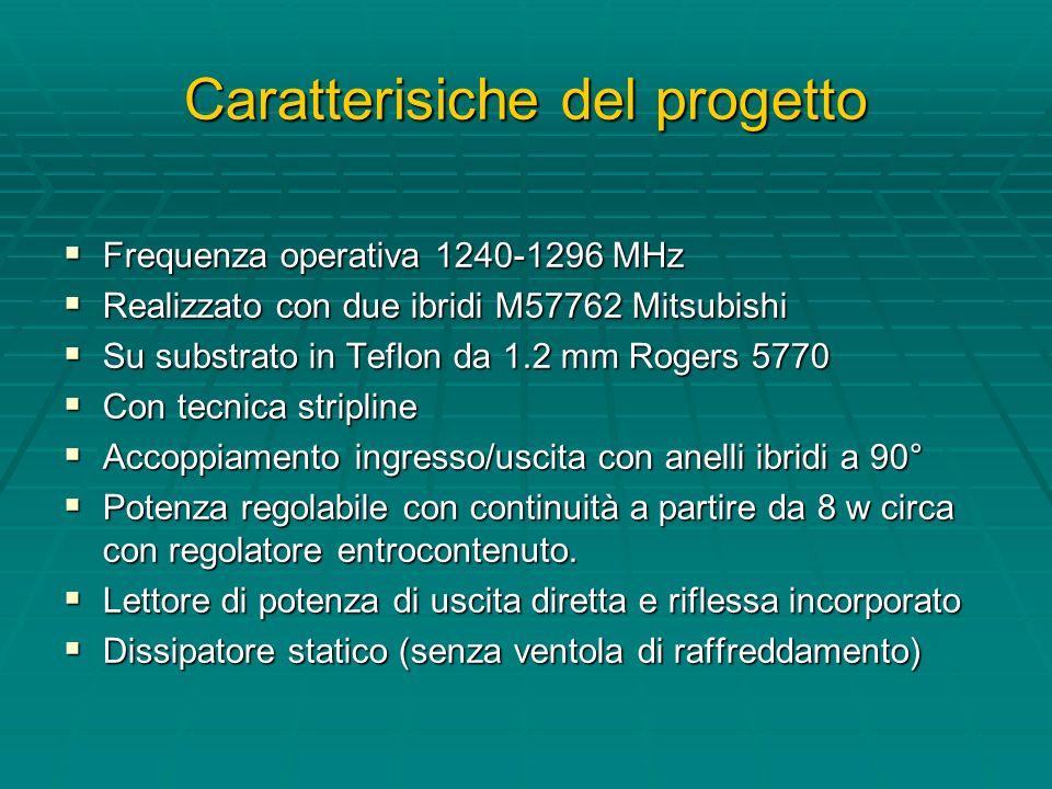 Caratterisiche del progetto Frequenza operativa 1240-1296 MHz Frequenza operativa 1240-1296 MHz Realizzato con due ibridi M57762 Mitsubishi Realizzato con due ibridi M57762 Mitsubishi Su substrato in Teflon da 1.2 mm Rogers 5770 Su substrato in Teflon da 1.2 mm Rogers 5770 Con tecnica stripline Con tecnica stripline Accoppiamento ingresso/uscita con anelli ibridi a 90° Accoppiamento ingresso/uscita con anelli ibridi a 90° Potenza regolabile con continuità a partire da 8 w circa con regolatore entrocontenuto.