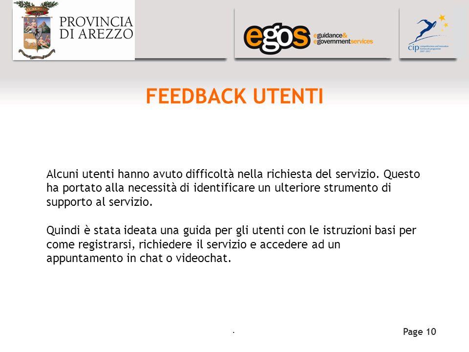 YOUR LOGO HERE FEEDBACK UTENTI Page 10 Alcuni utenti hanno avuto difficoltà nella richiesta del servizio.