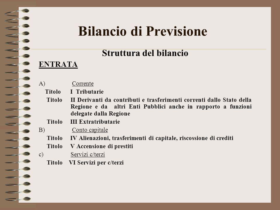 Bilancio di Previsione Struttura del bilancio ENTRATA A) Corrente Titolo I Tributarie Titolo II Derivanti da contributi e trasferimenti correnti dallo