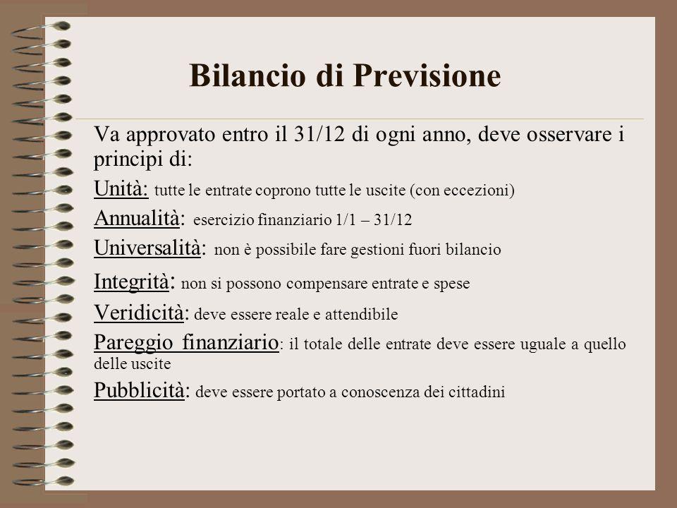 Bilancio di Previsione Va approvato entro il 31/12 di ogni anno, deve osservare i principi di: Unità: tutte le entrate coprono tutte le uscite (con ec