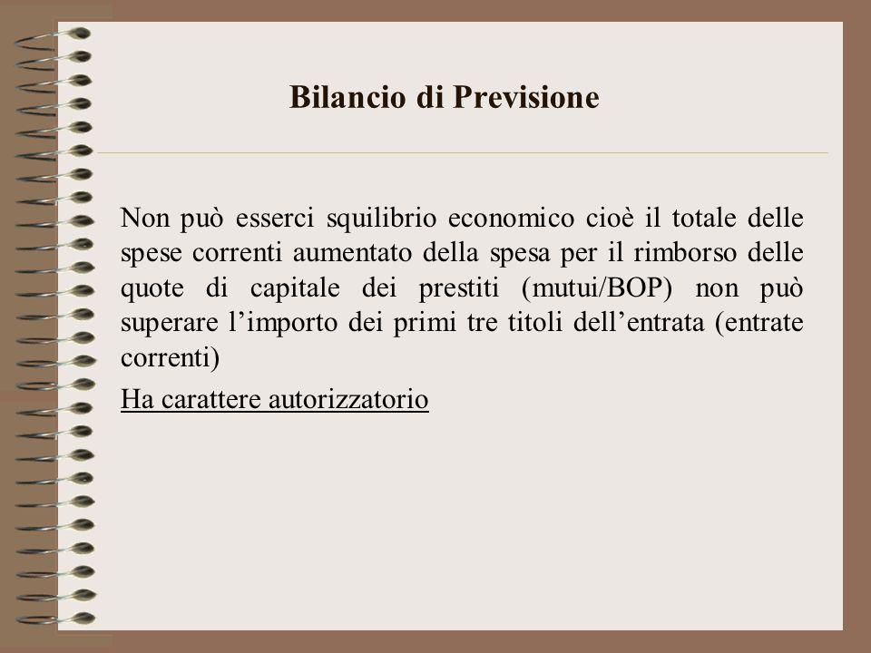 Bilancio di Previsione Non può esserci squilibrio economico cioè il totale delle spese correnti aumentato della spesa per il rimborso delle quote di c