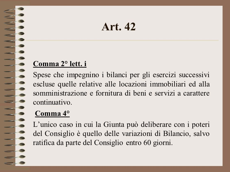 Art. 42 Comma 2° lett.