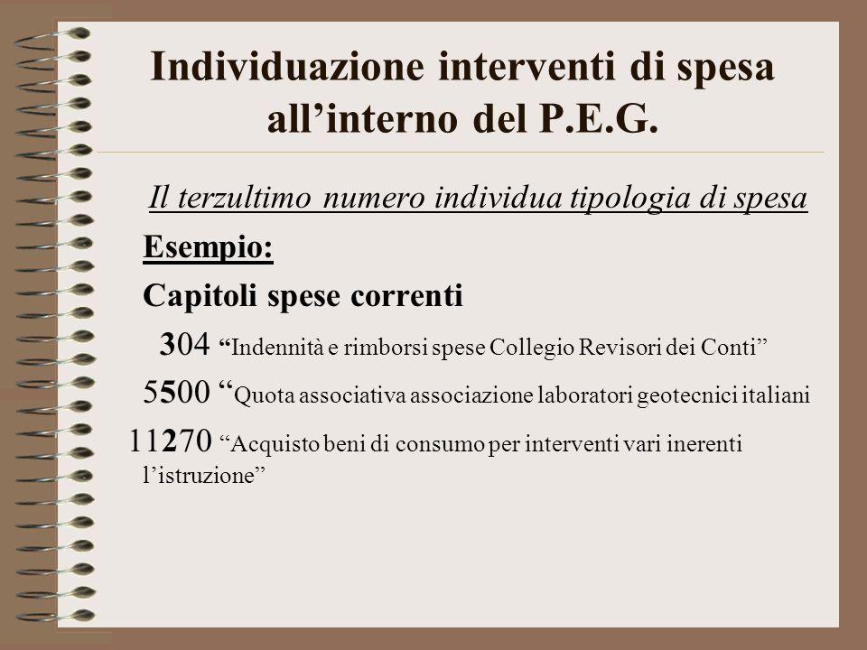 Individuazione interventi di spesa allinterno del P.E.G. Il terzultimo numero individua tipologia di spesa Esempio: Capitoli spese correnti 304Indenni