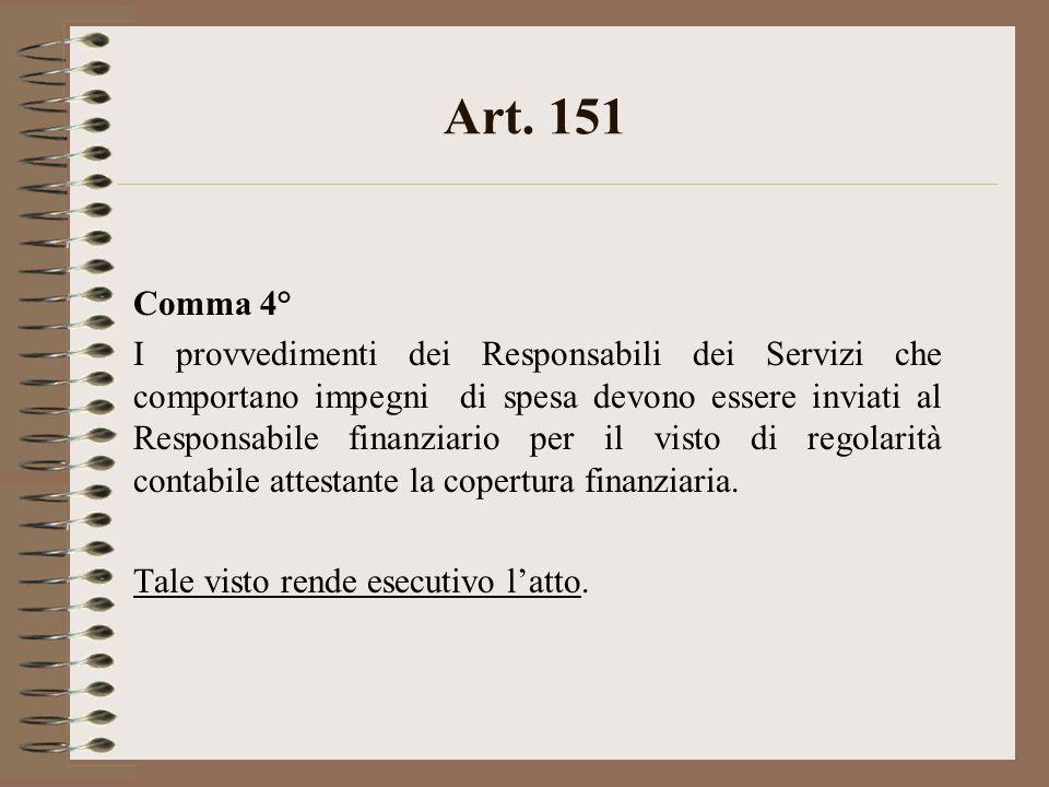 Art. 151 Comma 4° I provvedimenti dei Responsabili dei Servizi che comportano impegni di spesa devono essere inviati al Responsabile finanziario per i