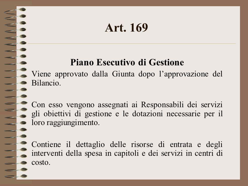 Art. 169 Piano Esecutivo di Gestione Viene approvato dalla Giunta dopo lapprovazione del Bilancio. Con esso vengono assegnati ai Responsabili dei serv