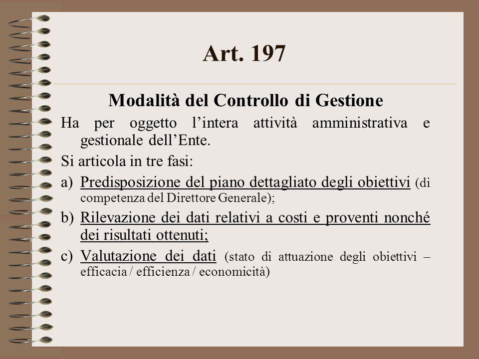 Art. 197 Modalità del Controllo di Gestione Ha per oggetto lintera attività amministrativa e gestionale dellEnte. Si articola in tre fasi: a)Predispos