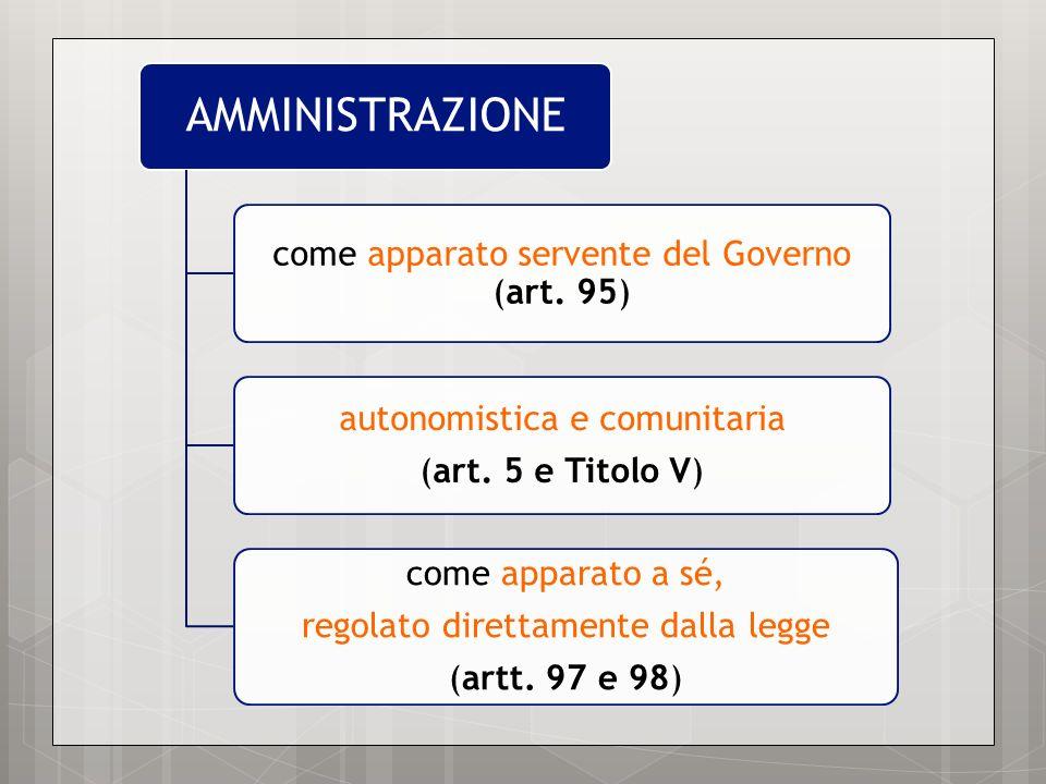 AMMINISTRAZIONE come apparato servente del Governo (art. 95) autonomistica e comunitaria (art. 5 e Titolo V) come apparato a sé, regolato direttamente