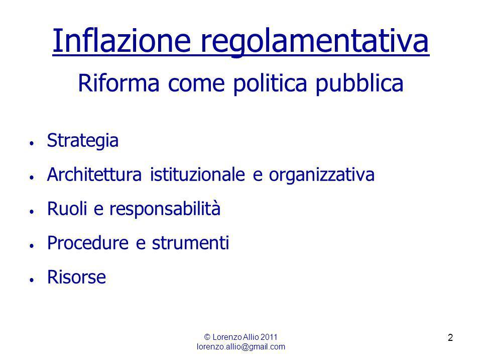 2 Inflazione regolamentativa Riforma come politica pubblica Strategia Architettura istituzionale e organizzativa Ruoli e responsabilità Procedure e strumenti Risorse © Lorenzo Allio 2011 lorenzo.allio@gmail.com