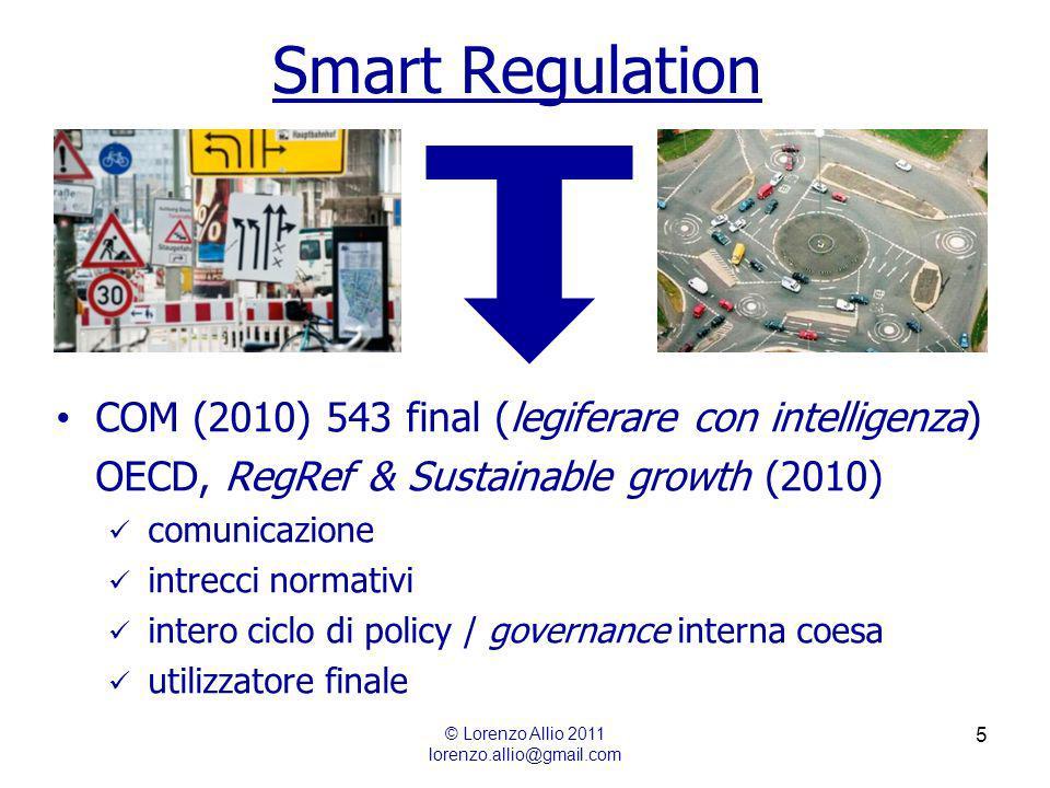 5 Smart Regulation © Lorenzo Allio 2011 lorenzo.allio@gmail.com COM (2010) 543 final (legiferare con intelligenza) OECD, RegRef & Sustainable growth (2010) comunicazione intrecci normativi intero ciclo di policy / governance interna coesa utilizzatore finale