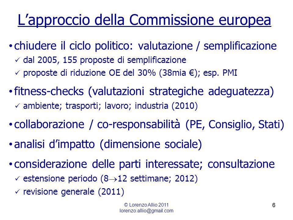 6 Lapproccio della Commissione europea © Lorenzo Allio 2011 lorenzo.allio@gmail.com chiudere il ciclo politico: valutazione / semplificazione dal 2005, 155 proposte di semplificazione proposte di riduzione OE del 30% (38mia ); esp.