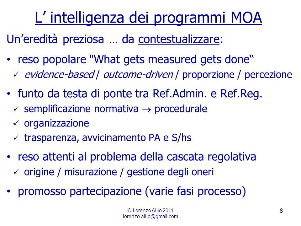 8 L intelligenza dei programmi MOA © Lorenzo Allio 2011 lorenzo.allio@gmail.com Uneredità preziosa … da contestualizzare: reso popolare What gets measured gets done evidence-based / outcome-driven / proporzione / percezione funto da testa di ponte tra Ref.Admin.