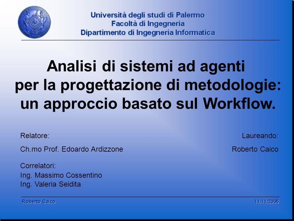 Analisi di sistemi ad agenti per la progettazione di metodologie: un approccio basato sul Workflow. Relatore: Ch.mo Prof. Edoardo Ardizzone Correlator