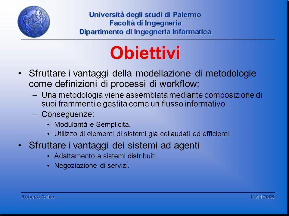 Sfruttare i vantaggi della modellazione di metodologie come definizioni di processi di workflow: –Una metodologia viene assemblata mediante composizio