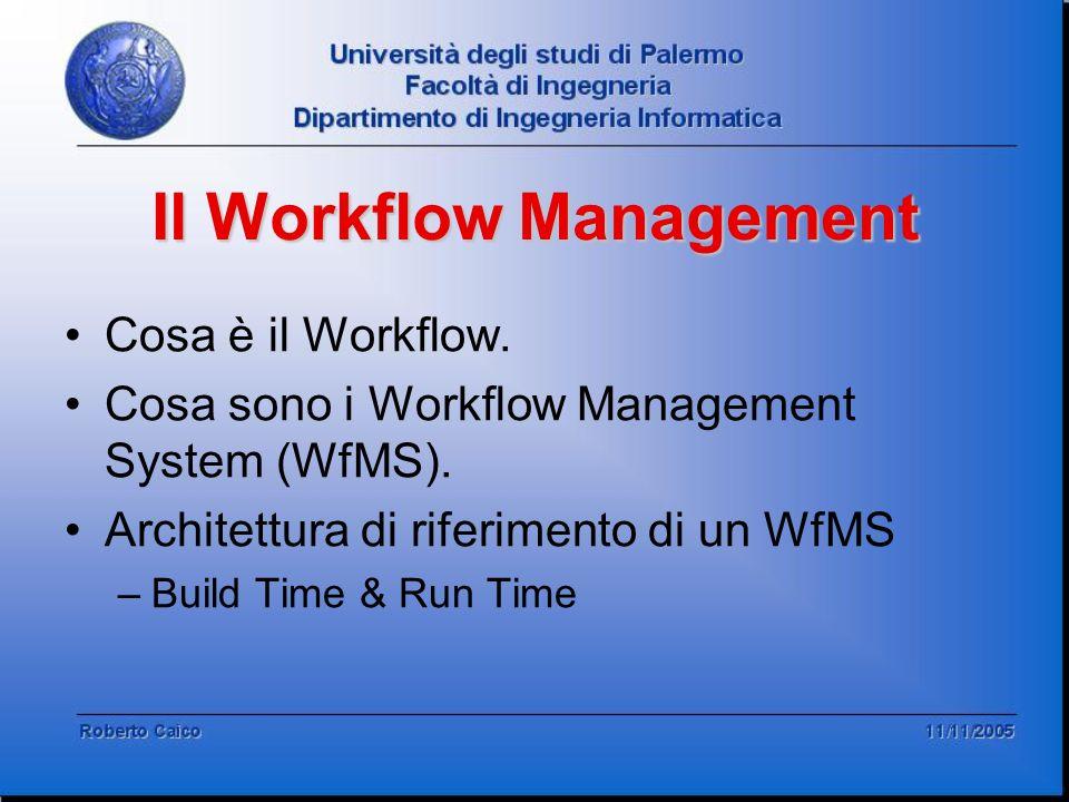 Il Workflow Management Cosa è il Workflow. Cosa sono i Workflow Management System (WfMS). Architettura di riferimento di un WfMS –Build Time & Run Tim