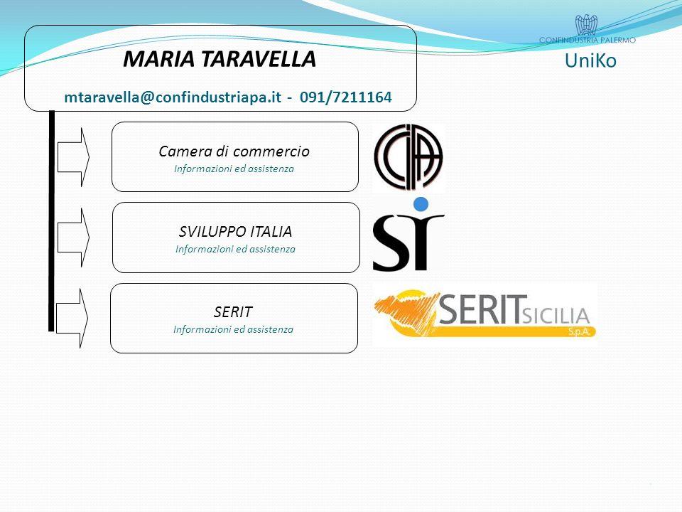 UniKo MARIA TARAVELLA Camera di commercio Informazioni ed assistenza SVILUPPO ITALIA Informazioni ed assistenza SERIT Informazioni ed assistenza mtaravella@confindustriapa.it - 091/7211164.