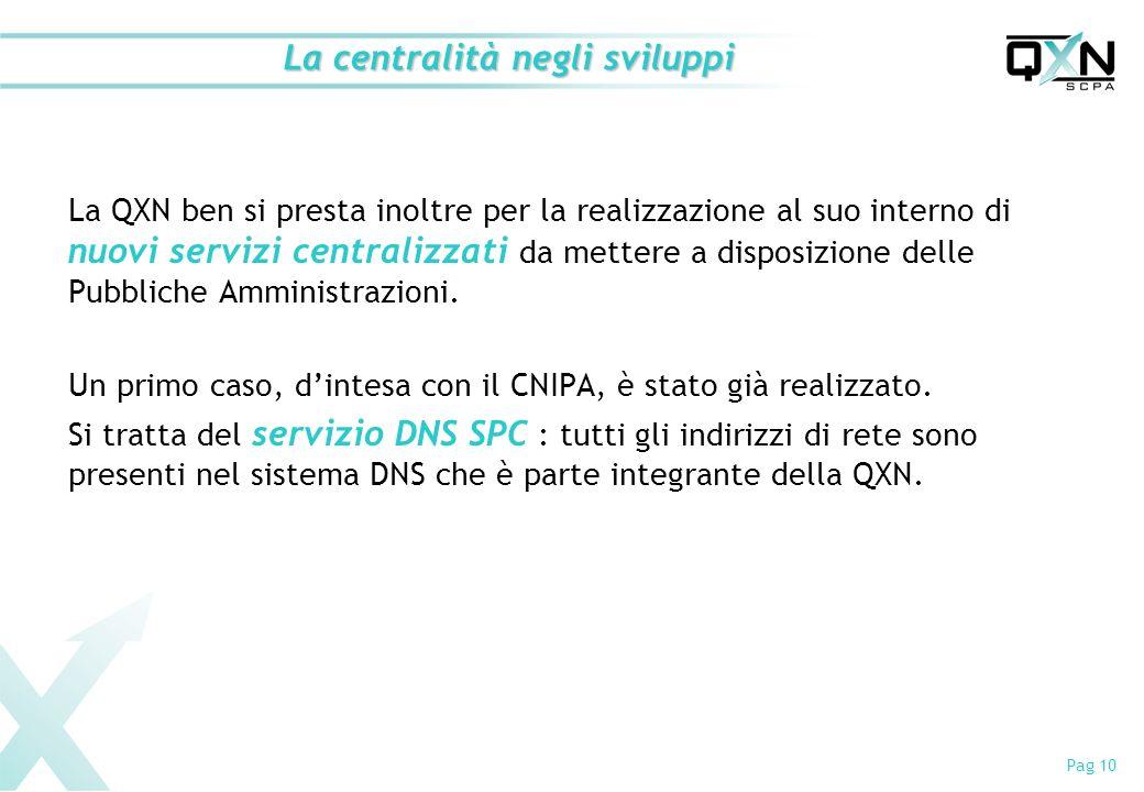 Pag 10 La centralità negli sviluppi La QXN ben si presta inoltre per la realizzazione al suo interno di nuovi servizi centralizzati da mettere a disposizione delle Pubbliche Amministrazioni.
