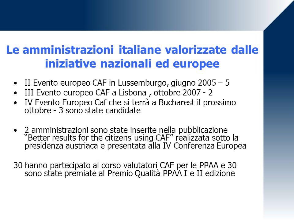 Le amministrazioni italiane valorizzate dalle iniziative nazionali ed europee II Evento europeo CAF in Lussemburgo, giugno 2005 – 5 III Evento europeo