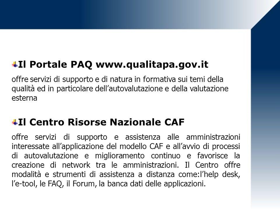 Il Portale PAQ www.qualitapa.gov.it offre servizi di supporto e di natura in formativa sui temi della qualità ed in particolare dellautovalutazione e