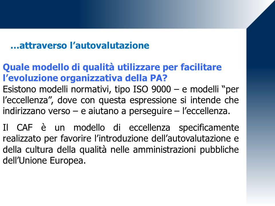 …attraverso lautovalutazione Quale modello di qualità utilizzare per facilitare levoluzione organizzativa della PA? Esistono modelli normativi, tipo I