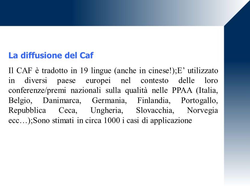 La diffusione del Caf Il CAF è tradotto in 19 lingue (anche in cinese!);E utilizzato in diversi paese europei nel contesto delle loro conferenze/premi