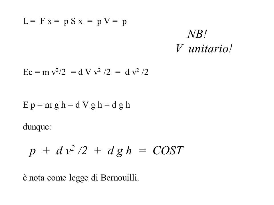 L = F x = p S x = p V = p NB! V unitario! Ec = m v 2 /2 = d V v 2 /2 = d v 2 /2 E p = m g h = d V g h = d g h dunque: p + d v 2 /2 + d g h = COST è no
