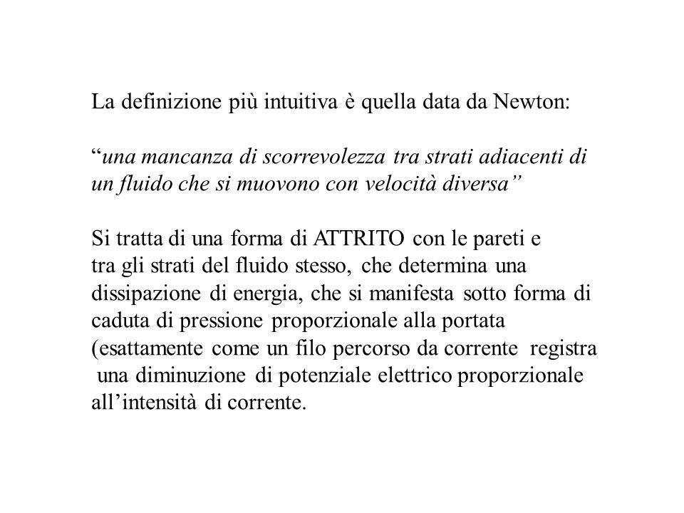 La definizione più intuitiva è quella data da Newton: una mancanza di scorrevolezza tra strati adiacenti di un fluido che si muovono con velocità dive