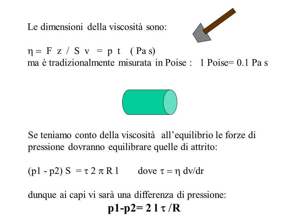 Le dimensioni della viscosità sono: F z / S v = p t ( Pa s) ma è tradizionalmente misurata in Poise : 1 Poise= 0.1 Pa s Se teniamo conto della viscosi