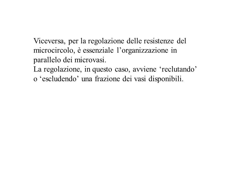 Viceversa, per la regolazione delle resistenze del microcircolo, è essenziale lorganizzazione in parallelo dei microvasi. La regolazione, in questo ca