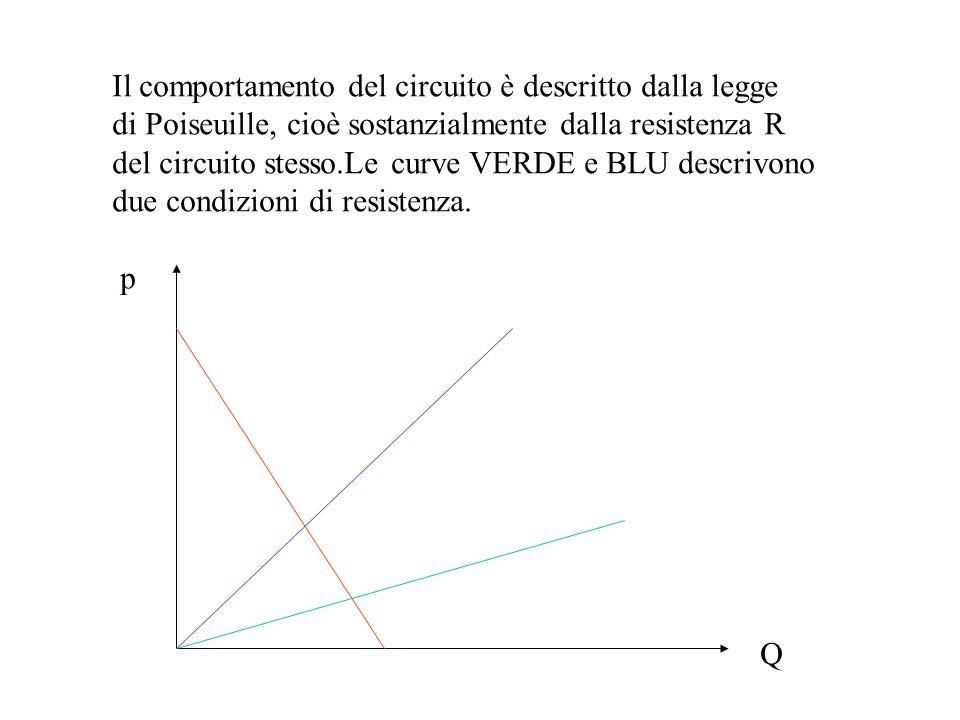 Il comportamento del circuito è descritto dalla legge di Poiseuille, cioè sostanzialmente dalla resistenza R del circuito stesso.Le curve VERDE e BLU