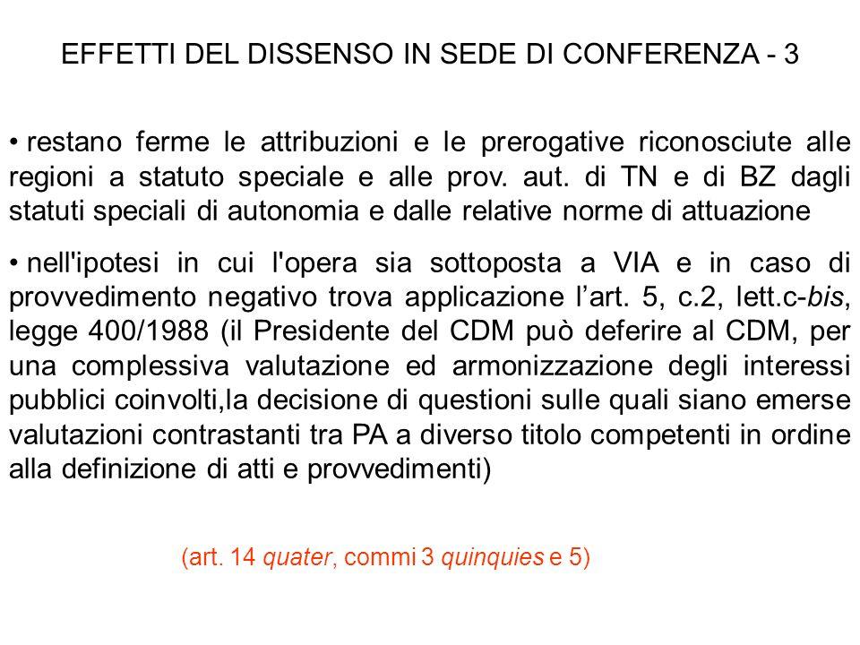 EFFETTI DEL DISSENSO IN SEDE DI CONFERENZA - 3 restano ferme le attribuzioni e le prerogative riconosciute alle regioni a statuto speciale e alle prov